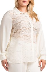 Standards And Practices Plus Size Women's Coco Lace Front Shirt White