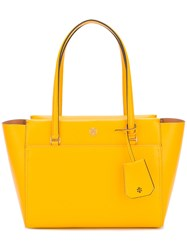 Tory Burch Zipped Tote Bag Women Leather One Size Yellow Orange