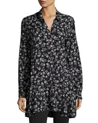 Neiman Marcus Floral Button Front Tunic Blouse Black White