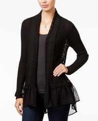 Jessica Simpson Tovelo Ruffled Open Front Cardigan Black