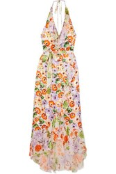 Alice Olivia Evelia Ruffled Floral Print Georgette Dress Orange