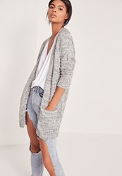 Missguided Pocket Detail Cardigan Grey Grey