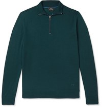 Paul Smith Ps Slim Fit Piped Merino Wool Half Zip Sweater Blue