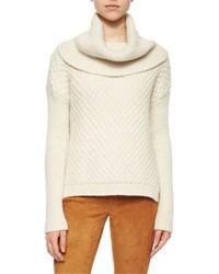 Alice Olivia Paxton Mixed Chunky Knit Cowl Sweater Cream