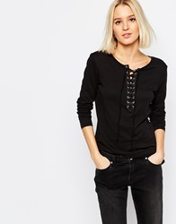 Weekday Lace Up Top Black