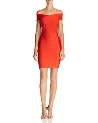 Wow Couture Off The Shoulder Body Con Dress Cherry