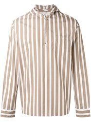Cmmn Swdn Hooded Striped Shirt Brown
