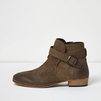 River Island Mens Beige Worn Leather Western Boots
