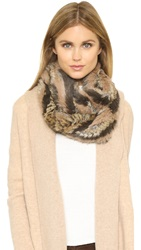 Jocelyn Fur Knitted Infinity Scarf Natural Heather Multi