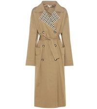 Isa Arfen Checked Collar Trench Coat Beige