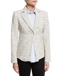 Derek Lam Striped Textured Single Button Blazer White