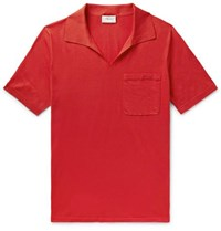 Brioni Slim Fit Embroidered Cotton Jersey Polo Shirt Tomato Red