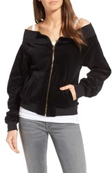 Juicy Couture Women's Off The Shoulder Velour Track Jacket Pitch Black