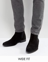 Asos Wide Fit Chelsea Boots In Black Faux Suede Black