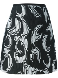 Odeeh Chevron Jacquard Skirt Black