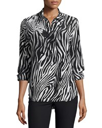 Equipment Brett Button Front Shirt Black White