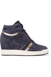 Ash Prince Suede Wedge Sneakers Storm Blue