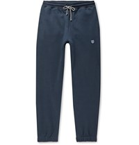 Schiesser Vincent Tapered Fleece Back Cotton Jersey Sweatpants Blue