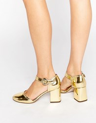 Kg By Kurt Geiger Poppy Square Toe Block Heel Mary Jane Gold