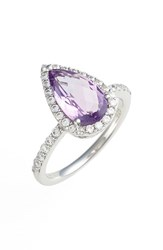 Women's Lafonn 'Aria' Pear Cut Ring Platinum Amethyst