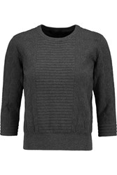 Marc By Marc Jacobs Lucinda Jacquard Knit Cotton Blend Sweater Gray