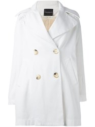 Erika Cavallini Double Breasted Coat White