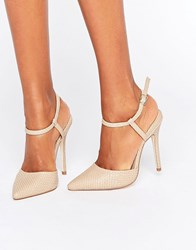 London Rebel 2 Part Court Shoe Nude Embossed Beige