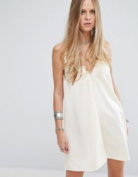 Kiss The Sky Halter Neck Slip Dress With Lace Insert And Tassel Ties Cream