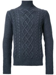 Kent And Curwen Chunky Cable Knit Jumper Grey