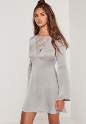 Missguided Lace Front Flared Sleeve Skater Dress Grey
