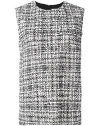 Lanvin Sleeveless Tweed Check Blouse Black