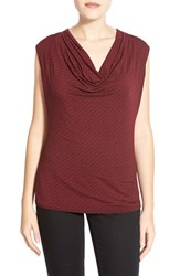 Petite Women's Halogen Cowl Neck Sleeveless Top Black Red Small Geo Print