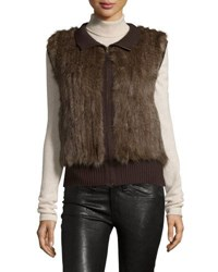 Gorski Sable Fur Knit Zip Vest Brown