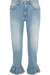 Msgm Distressed Ruffle Trimmed High Rise Straight Leg Jeans Light Denim