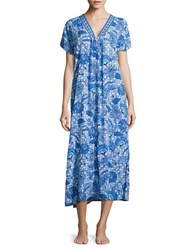 Miss Elaine Printed V Neck Dress Blue