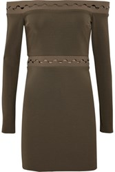 Dion Lee Off The Shoulder Jersey Mini Dress Army Green