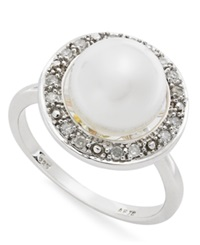 Macy's Sterling Silver Ring Diamond 1 10 Ct. T.W. And Cultured Freshwater Button Pearl 9Mm Ring White