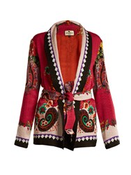 Etro Giacca Floral And Paisley Print Cloque Jacket Pink Multi