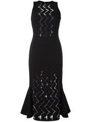 David Koma Geometric Embellishment Fitted Dress Black