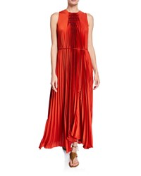 Vince Pleated Scoop Neck Sleeveless Shift Dress Red