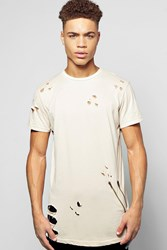 Boohoo Skater Fit Destroyed T Shirt With Double Zip Sand