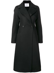 Dondup Double Breasted Long Coat Black