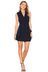 Endless Rose Sleeveless Tuxedo Mini Dress Navy
