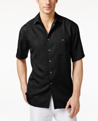 Campia Moda Men's Tonal Tribal Geometric Print Short Sleeve Shirt Black