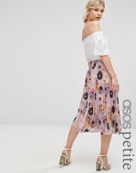 Asos Petite Floral Printed Pleated Midi Skirt Multi