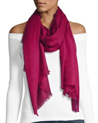 Michael Stars Cotton Blend Printed Fringe Scarf Red