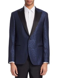 Saks Fifth Avenue Collection By Samuelsohn Paisley Dinner Jacket Blue