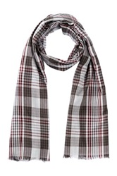 Amicale Lightweight Plaid Scarf Gray