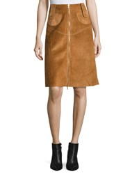 Derek Lam Suede Front Zip A Line Skirt Brown
