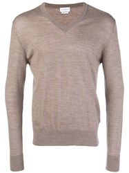 Ballantyne V Neck Knitted Jumper Nude And Neutrals